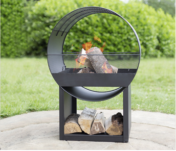 Buschbeck Feuerschale aus Metall mit Holzstaufach