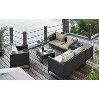 a casa mia Geflecht-Lounge  Venezia 1 ¦ grau ¦ Stahl pulverbeschichtet/PE-Geflecht Garten > Gartenmöbel nach Materialien > Polyrattan-Gartenmöbel - Höffner