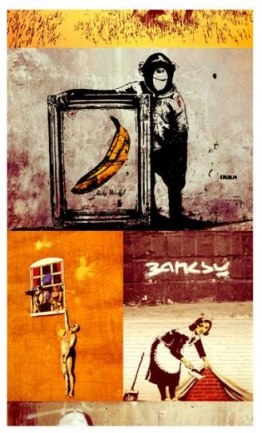 Artgeist Tapeten-Collage Banksy