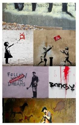 Artgeist Wallpaper Banksy Eine Collage