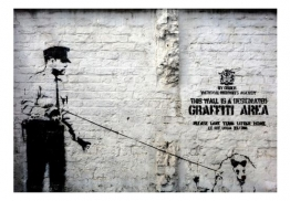 Artgeist Wallpaper Banksy Graffiti-Bereich 300X210 Cm