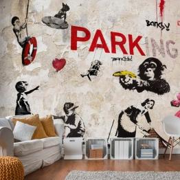 Artgeist Wallpaper Banksy Graffiti-Collage 250X175 Cm