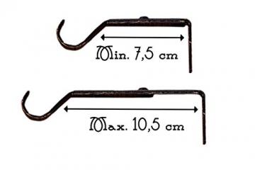AT17 Gardinenstange Vorhangstange Gardinenstange Variable Länge Landhaus Shabby Chic - Vintage - 120-210 - Durchmesser 2 cm - Schwarz/Gold - Metall - 5