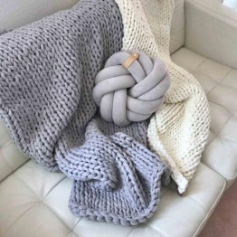 Baumwolldecke Chunky Knit, vegan scandi grey