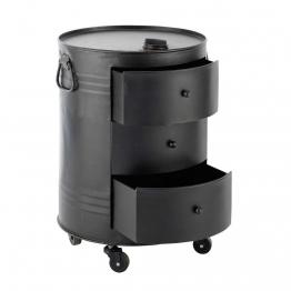 Beistelltisch CLARK in Ölfass-Optik aus Metall, schwarz, B42