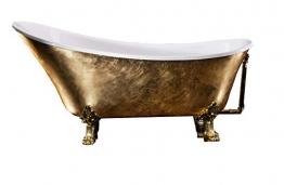 Bernstein Badshop Freistehende Badewanne PARIS PREMIUM Gold Nostalgie-Wanne vergoldet- 175 x 74 cm - 1