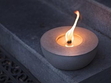 Beske-Betonfeuer mit 'Dauerdocht'   Durchmesser 24cm   Wiederbefüllbare Gartenfackel   'Unendliche' Brenndauer durch umweltfreundliches Recycling von Kerzenwachs - 2