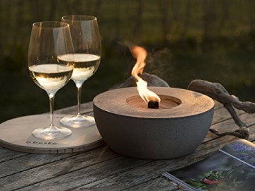 Beske-Betonfeuer mit 'Dauerdocht'   Durchmesser 24cm   Wiederbefüllbare Gartenfackel   'Unendliche' Brenndauer durch umweltfreundliches Recycling von Kerzenwachs - 1