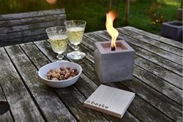 Beske-Betonfeuer mit 'Dauerdocht' | Größe 10x10x10 cm | Wiederbefüllbare Gartenfackel | 'Unendliche' Brenndauer durch umweltfreundliches Recycling von Kerzenwachs - 1
