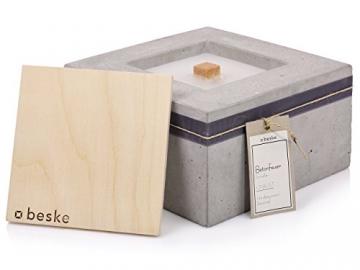 Beske-Betonfeuer mit 'Dauerdocht' | Größe 24x24x13 | Wiederbefüllbare Gartenfackel | 'Unendliche' Brenndauer durch umweltfreundliches Recycling von Kerzenwachs - 4