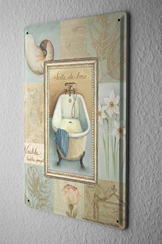 Blechschild Badewanne Tulpe Narzissen Muschel Nostalgie Metall Deko Schild 20X30 cm - 1