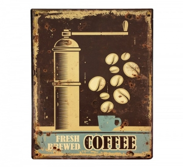 Blechschild Fresh Brewed COFFEE Nostalgie Dekoschild Vintage 25x20cm