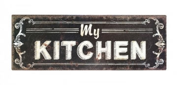 "Blechschild ""MY KITCHEN"" Nostalgie Dekoschild Antik-Stil 36x13cm"