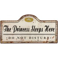 "Blechschild ""The Princess Sleeps Here"" Vintage Nostalgie 50x25cm"