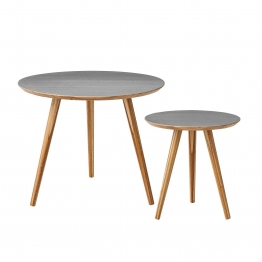 Bloomingville Bambus Beistelltisch-Set 2-tlg. - grau/lackiert/Tisch groß: Ø 59 cm, H 46 cm/Tisch klein: Ø 39 cm, H 41 cm