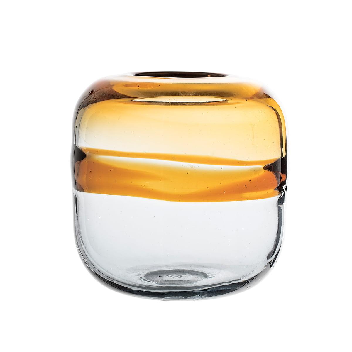 Bloomingville - Glas-Vase H 16,5 cm, braun