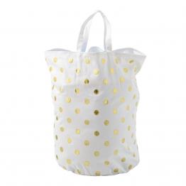 Bloomingville - Golden Dots Wäschesack - weiß/gold/matt/B40xL50cm