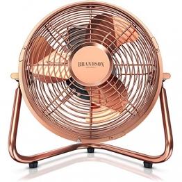 Brandson - Windmaschine Retro Stil - Ventilator im Kupfer Design - Standventilator 32 Watt - Tischventilator Standventilator - hoher Luftdurchsatz - stufenlos neigbarer Ventilatorkopf - 1