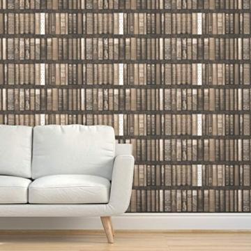 braun, sepia, Bücher, Bibliothek, Regale, Trompe l'œil, bibliophile Spezialangefertigte Selbstklebende Tapete 61 cm x 260 cm von Spoonflower - 2