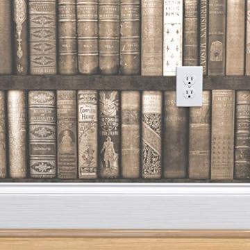 braun, sepia, Bücher, Bibliothek, Regale, Trompe l'œil, bibliophile Spezialangefertigte Selbstklebende Tapete 61 cm x 260 cm von Spoonflower - 4