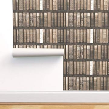braun, sepia, Bücher, Bibliothek, Regale, Trompe l'œil, bibliophile Spezialangefertigte Selbstklebende Tapete 61 cm x 260 cm von Spoonflower - 1