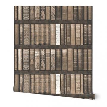 braun, sepia, Bücher, Bibliothek, Regale, Trompe l'œil, bibliophile Spezialangefertigte Selbstklebende Tapete 61 cm x 260 cm von Spoonflower - 5