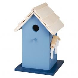 Buntes Vogelhaus Vogel-Villa Nistkasten Holz Blau 27,5cm