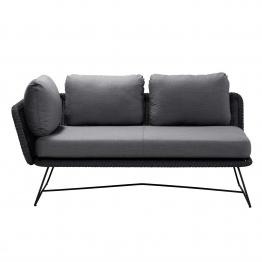 Cane-Line - Horizon Sofa Modul 2-Sitzer rechts - schwarz/grau/Sitzfläche Cane-line Faser/Kissen Cane-line Natté/BxHxT 158x66x85cm