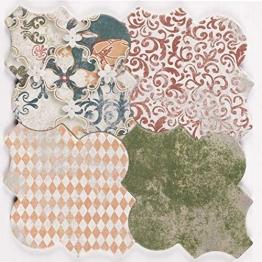 Casa Moro Marokkanische Fliesen Risha Patchwork 45x45 cm 1m² mit Arabesque Form Betonoptik | Orientalische Keramikfliesen für Boden & Wand | FL2130 - 1