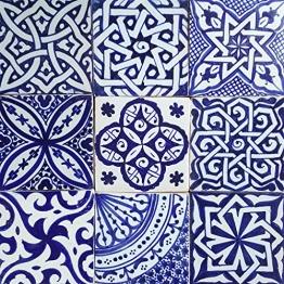 Casa Moro Orientalische Fliesen Mix 10x10 cm blau weiß 9er Packung handbemalte marokkanische Fliesen Patchwork | Kunsthandwerk aus Marokko | Wandfliesen für schöne Küche Dusche Badezimmer | HBF8400 - 1