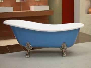 Casa Padrino Freistehende Luxus Badewanne Jugendstil Roma Hellblau/Weiß/Chrome 1470mm - Barock Antik Badezimmer - 2