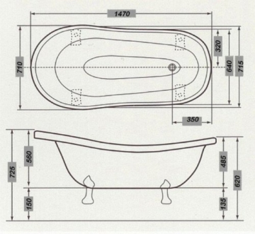 Casa Padrino Freistehende Luxus Badewanne Jugendstil Roma Hellblau/Weiß/Chrome 1470mm - Barock Antik Badezimmer - 3