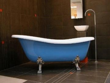 Casa Padrino Freistehende Luxus Badewanne Jugendstil Roma Hellblau/Weiß/Chrome 1470mm - Barock Antik Badezimmer - 1