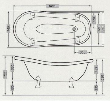 Casa Padrino Freistehende Luxus Badewanne Jugendstil Roma Weiß/Altgold 1695mm Barock Badezimmer - Retro Antik Badewanne - 2