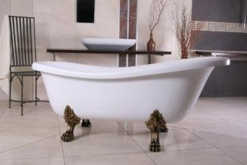 Casa Padrino Freistehende Luxus Badewanne Jugendstil Roma Weiß/Altgold 1695mm Barock Badezimmer - Retro Antik Badewanne - 1