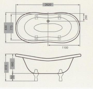 Casa Padrino Freistehende Luxus Badewanne Jugendstil Venedig Weiß/Weiß 2020 mm - Barock Badezimmer - Retro Antik Badewanne - 3