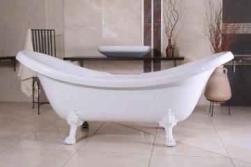 Casa Padrino Freistehende Luxus Badewanne Jugendstil Venedig Weiß/Weiß 2020 mm - Barock Badezimmer - Retro Antik Badewanne - 1