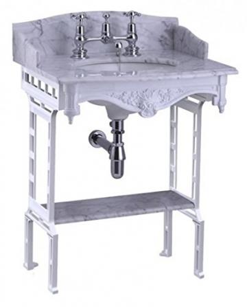 Casa Padrino Jugendstil Stand Waschtisch Weiß/Weiß mit Marmorplatte mit Spritzschutz hinten, seitlich und Ablage Barock Waschbecken Barockstil Antik Stil - 3