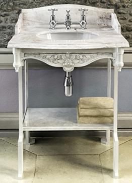 Casa Padrino Jugendstil Stand Waschtisch Weiß/Weiß mit Marmorplatte mit Spritzschutz hinten, seitlich und Ablage Barock Waschbecken Barockstil Antik Stil - 1