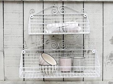 Chic Antique Metall Wandkorb, Aufbewahrungskorb Antik Weiß Vintage Shabby Bad Küche -