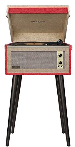Crosley Bermuda Bluetooth Plattenspieler Im Retro Design mit Aux-in und abnehmbare Beine, Rot - 1