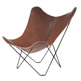cuero - Pampa Mariposa Butterfly Chair Sessel - dunkelbraun/Chocolate 67/BxHxT 87x92x86cm/Gestell schwarz