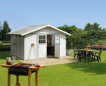 DECO Gartenhaus H11 graublau/weiß Grosfillex Kunststoff -