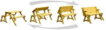 dobar Praktische Garten Sitzbank 2 in 1 Kombination aus Tisch und Bank FSC-Holz, Sitzgarnitur, Hellbraun, 138 x 144 x 77 cm - 2