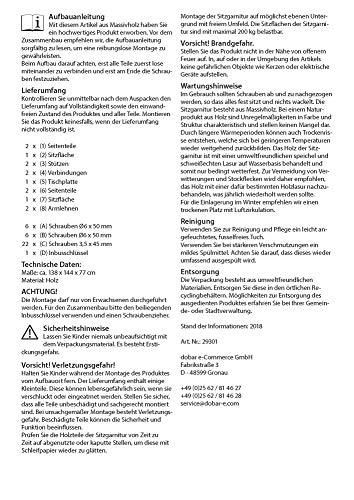 dobar Praktische Garten Sitzbank 2 in 1 Kombination aus Tisch und Bank FSC-Holz, Sitzgarnitur, Hellbraun, 138 x 144 x 77 cm - 11