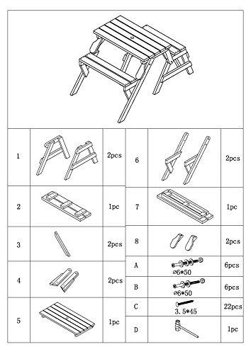 dobar Praktische Garten Sitzbank 2 in 1 Kombination aus Tisch und Bank FSC-Holz, Sitzgarnitur, Hellbraun, 138 x 144 x 77 cm - 12