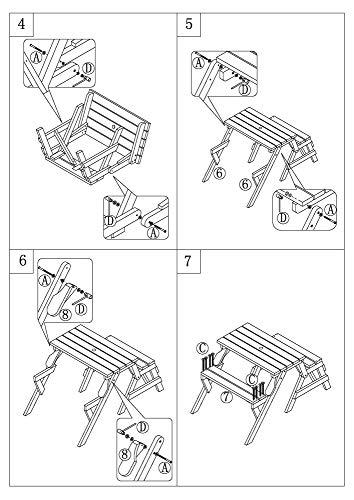 dobar Praktische Garten Sitzbank 2 in 1 Kombination aus Tisch und Bank FSC-Holz, Sitzgarnitur, Hellbraun, 138 x 144 x 77 cm - 14