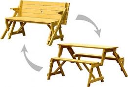 dobar Praktische Garten Sitzbank 2 in 1 Kombination aus Tisch und Bank FSC-Holz, Sitzgarnitur, Hellbraun, 138 x 144 x 77 cm - 1