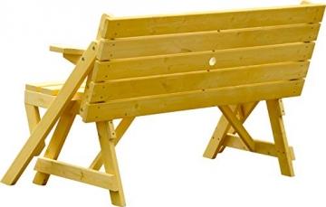 dobar Praktische Garten Sitzbank 2 in 1 Kombination aus Tisch und Bank FSC-Holz, Sitzgarnitur, Hellbraun, 138 x 144 x 77 cm - 4