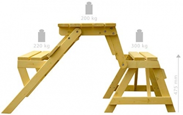 dobar Praktische Garten Sitzbank 2 in 1 Kombination aus Tisch und Bank FSC-Holz, Sitzgarnitur, Hellbraun, 138 x 144 x 77 cm - 5